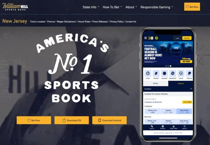 William Hill NJ Deposit Promo Code - WHGAMBLER150